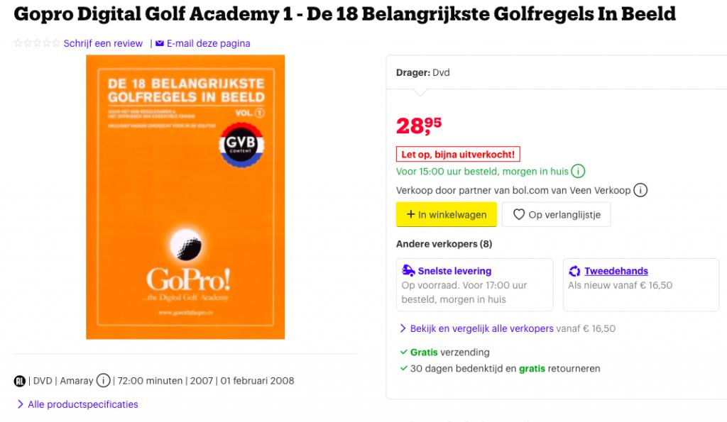 Regel dvd, opgenomen op de Noordwijkse golfclub samen met top refereer Ingeborg Slikker